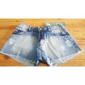 Short Feminino Lobo Branco Vip Jeans Puído E Desfiado