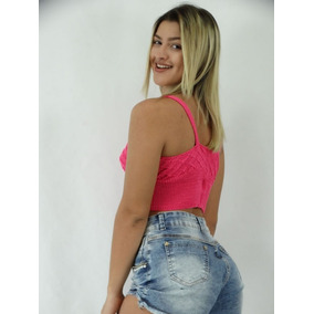 Conjunto Shorts Jeans Hot Pants Colorido Top Croche Tricô