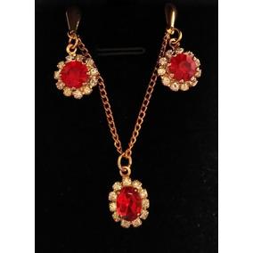 f600fa2c52ee Juego Set Collar + Aretes Cristales Rojo Navidad Nuevo