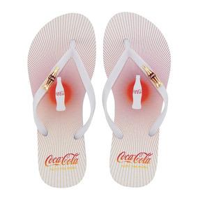 96e1e4b36 Chinelo Coca-cola Sandália Feminina Branco Sound Cc2484 Moda