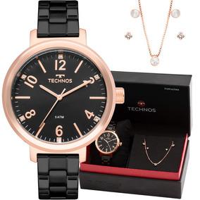Relógio Technos Feminino Preto Kit Colar+ Brinco 2035mmu/k4p
