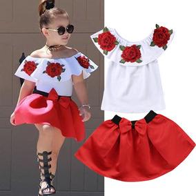 81052ac7f3e Conjunto Infantil Menina Saia+ Blusa Ciganinha Promoção