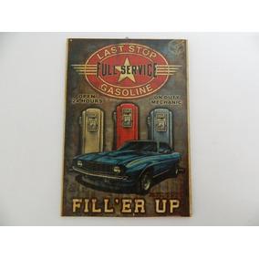 Placa Decorativa Mdf Retrô Vintage - Full Service Gasoline