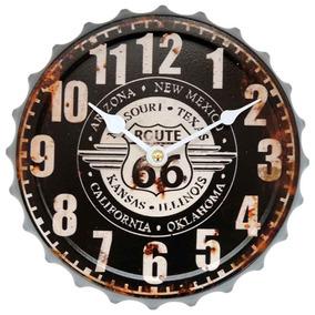 3b10f6a0324 Relógio De Parede Tampa De Garrafa Rota 66 New Mexico Preto