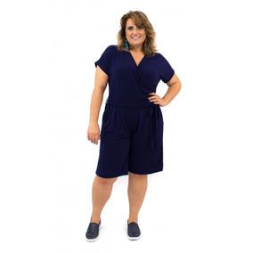 Macaquinho Plus Size Azul Moda Verão