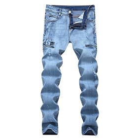 De Los Hombres Ripped Delgado Fit Angustiado Dril Jeans Pant