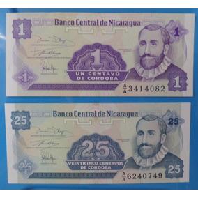 Cédula 1 E 25 Centavos De Cordoba Nicaragua Flor De Estampa