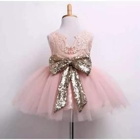 Vestido De Gala Para Niña Bebe Rosa Moño Dorado Hermoso