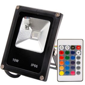 Kit 5 Refletor 10w Led Ip66 Rgb Colorido Holofote Jardim