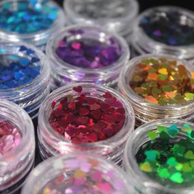 Cartela De Glitter Coração 12 Cores Encapsulamento