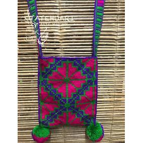 Morral Huichol Arte Huichol Violeta Con Fucsia