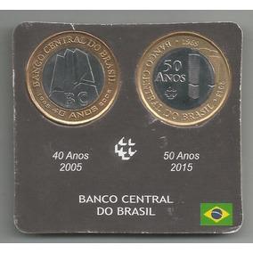 Cartela Com 2 Moedas Do Banco Central. 2005. 40/50 Anos.