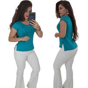 Kit 4 Blusas Roupas Femininas Camisetas Baby Look Estampadas