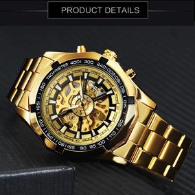 Relógio Dourado Esqueleto Automático Social Aço Inox