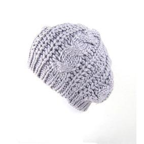 Boina Cinza Crochet Crochê Lã Beret Beanie Importado Novo 92a15fbcb43