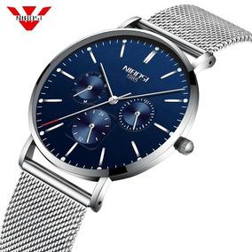 Relógio Nibosi Unissex Fem / Masculino 2321-1 Prata C/ Azul