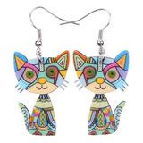 73a8514bac6f Aretes Pendientes Gato Stud Pin Multicolor Acido Mujer Moda