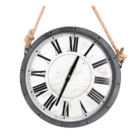 Reloj De Pared Vintage Gris C Cuerda Robusto Metal Remaches
