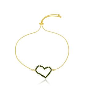 Pulseira Coração Verde Esmeralda Folheado A Ouro 18k Semi Jó 12d45caedb