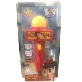 Microfone Com Eco E Luz Toy Story Woody Vermelho E Amarelo