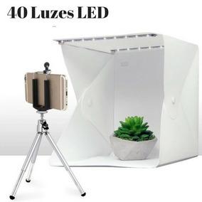 Estúdio Fotográfico 24cm 40 Leds Portátil Super Iluminação