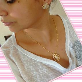 Kit Conjunto Feminino Zirconia Banhado A Ouro