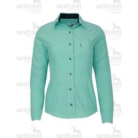Blusa De Gabardina Oxford Verde Aqua + Bordado Oferta