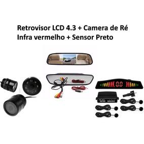 Retrovisor Lcd 4.3 + Camera De Ré Infra Vermelho + Sensor Ré