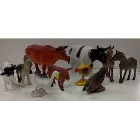 Kit Fazenda 10 Miniatura Animal Cavalo Vaca Porco Cachorro