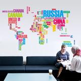 Mapa Mundial Letras Color Vinil Sticker Mapamundi Pared