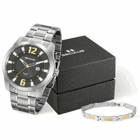 Relógio Seculus Masculino 20496g0svna2k1 + Pulseira