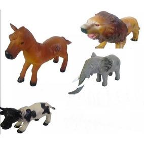 4 Animais Leão, Vaca,cavalo, Elefante De Borracha Emite Som