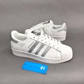 free shipping d5bf8 b71e2 Tenis Zapatillas adidas Superstar Blanca Plateada Mujer
