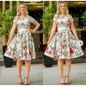 Vestido Floral Moda Evangelica Cristã Manga Cinto