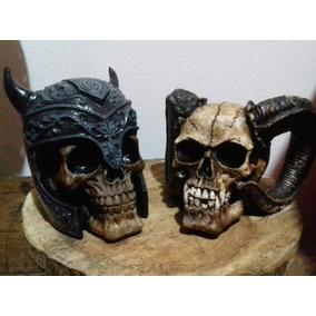 Calaveras Deco Duo Vikingo Y Cuernos De Chivo, De Yeso
