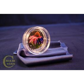 2013 Ca Venetian Glass 1 Oz Pure Silver Coin Purple Coneflow