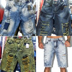 Kit 5 Bermudas Jeans Rasgadas Desfiadas Varias Lavagens