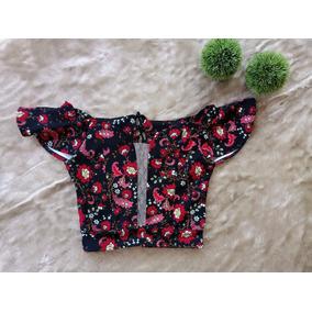 Blusa Feminina Cropped Floral Ciganinha