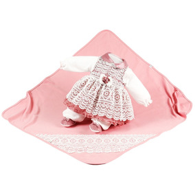 Saída De Maternidade Beth Bebê Feminina Renda Luxo Mel Rosê