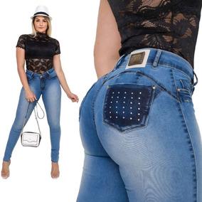 Calça Jeans Feminina Cintura Alta Hot Pants Estilo Pit Bull