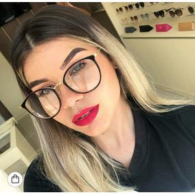 Óculos Armação Redonda Lente Falsa Fake Feminino Dia Noite 774ded5e95