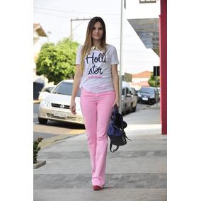 f76e730a87715 Calça Flare Jeans Cintura Alta Hot Pant + Calcinha De Brinde