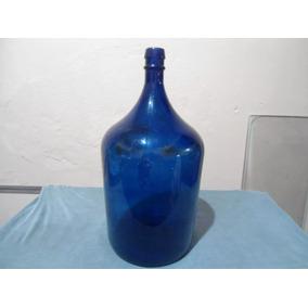 Garrafão Vidro Antigo Azul Cobalto Antiguidade E Decoração