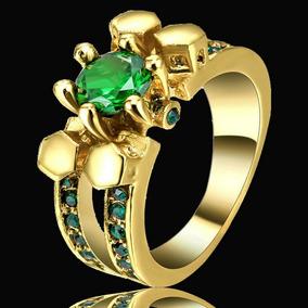 Anel Feminino Cristal Esmeralda 3banhos Ouro Formatura 508 P