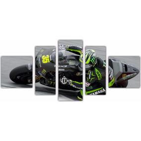 Quadro Decorativo Moto Gp Automobilismo 5 Pçs Com Moldura 02