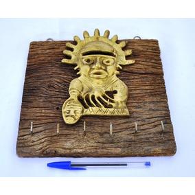Ídolo Asteca Representação Ritual Em Bronze Rústica Antiga