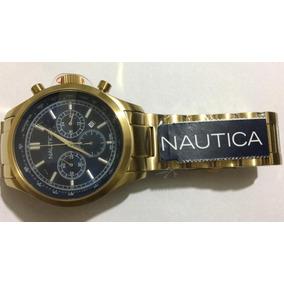Relógio Náutica A22619g Gold Fundo Azul Original Promocao