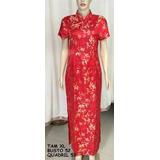 Vestido Chines Vermelho Com Dourado Gg Novo