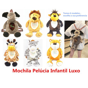 Mochila Infantil Pelucia Animal Elefante Macaco Girafa Leão