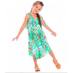 Macacão Infantil Feminino Pantacourt Verde Floral 043dfc00ce4e9